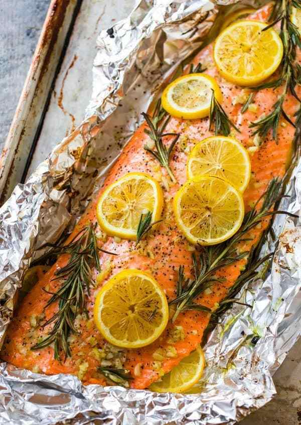 baked salmon in a foil