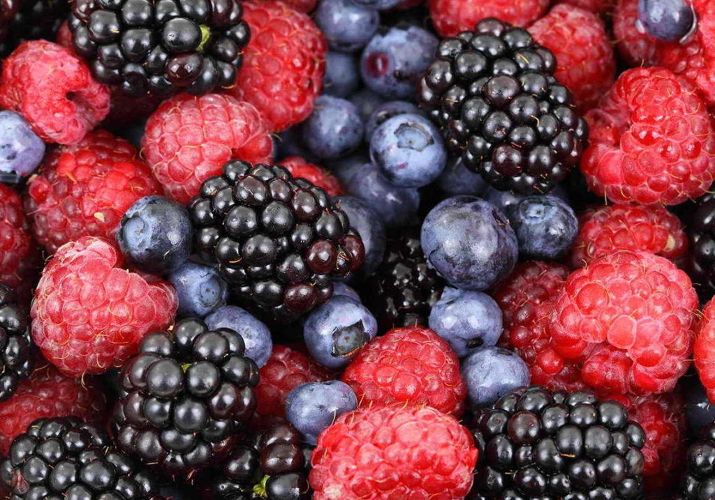 raspberries, blueberries, blackcurrant