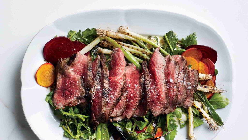 steak with beets and scallions in a plate