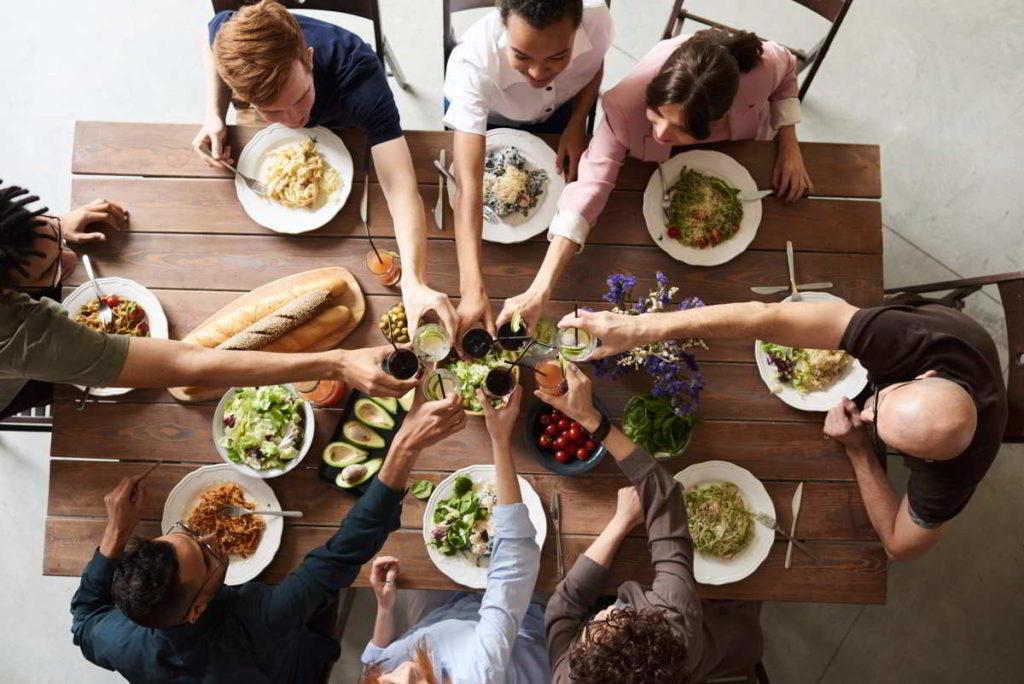 Mediterranean diet sharing food