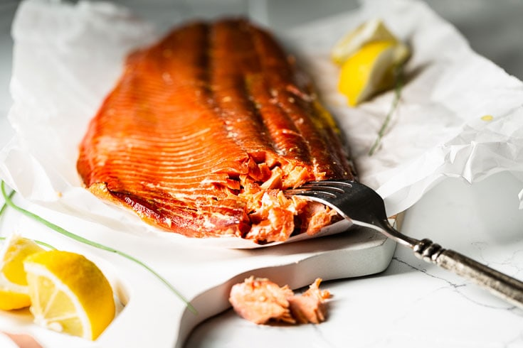 smoked salmon with fork