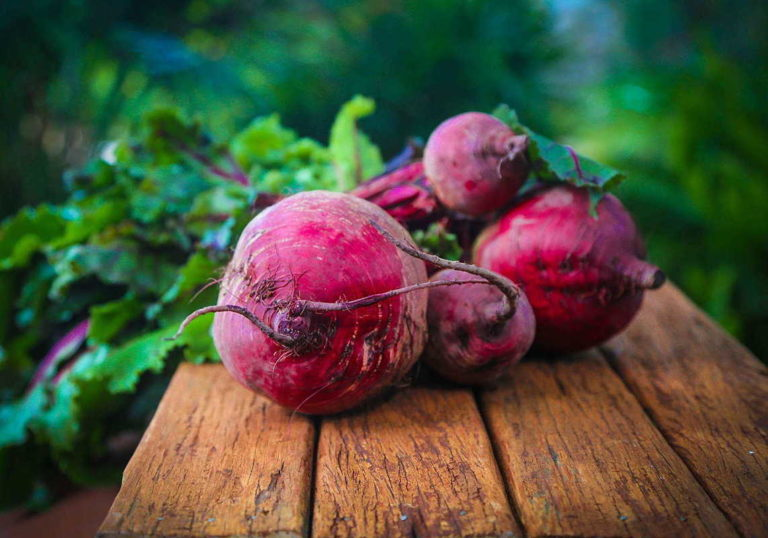 beets on wooden table