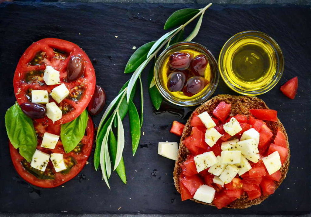 Mediterranean diet tomatoes and olive, olive oil