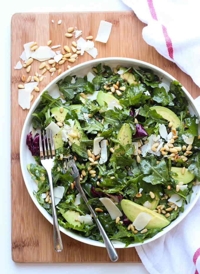 parmesan arugula salad with pine nuts