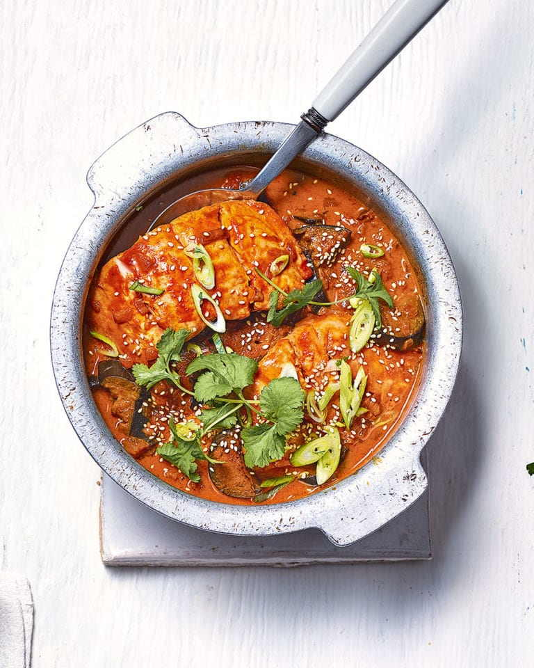 spicy salmon and aubergine curry