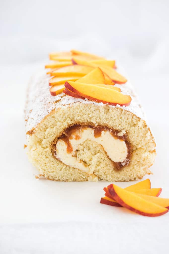 peaches and cream Swiss roll cake